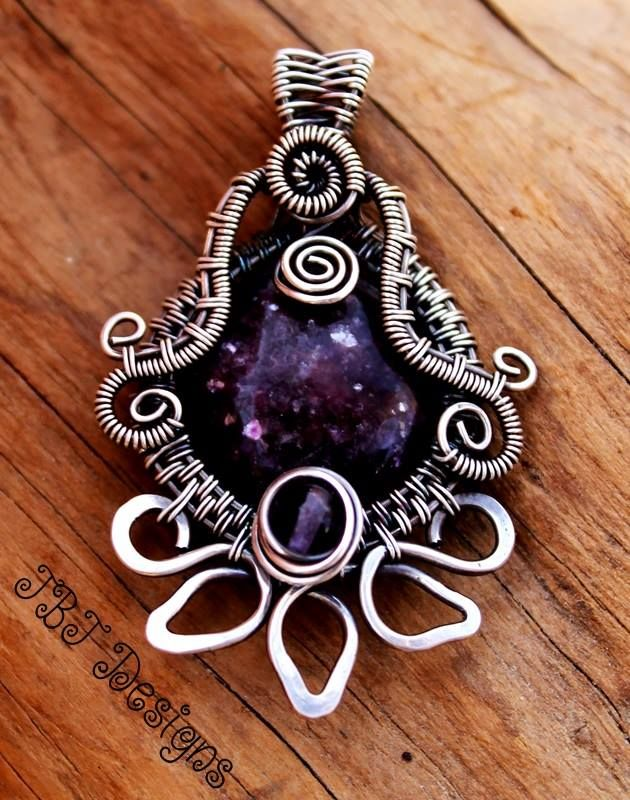 Woven fine silver with lepidolite and fluorite by JBJ Designs Handcrafted Jewelry on Facebook.