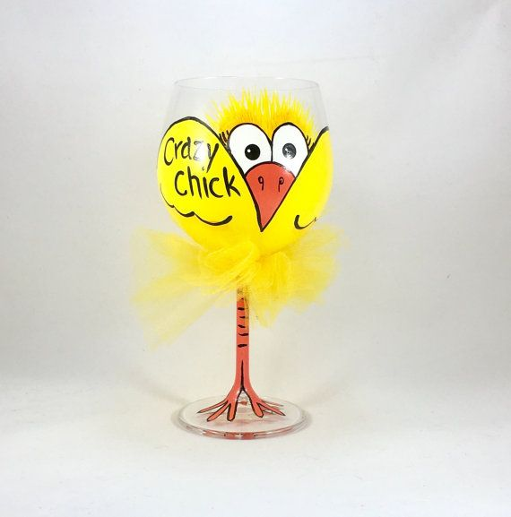 Crazy chick wine glass large balloon glass by AutumnFreckleDesigns