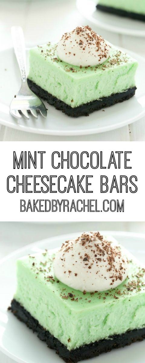Creamy mint chocolate cheesecake bar recipe from @bakedbyrachel