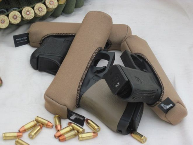 The Slideboot was developed to eliminate the need for gun rugs or traditional plastic boxes when transporting handguns to the range, in the console of a vehicle or in storage.
