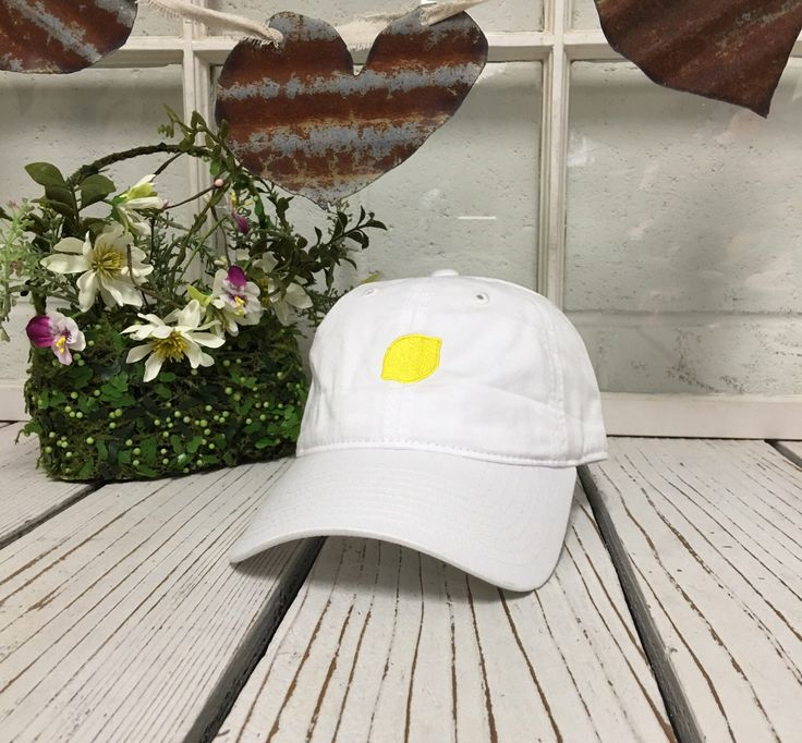 LEMON Baseball Hat Low Profile Embroidered WHITE Baseball Caps Dad Hats by PrfctoLifestyle on Etsy https://www.etsy.com/listing/278280828/lemon-baseball-hat-low-profile