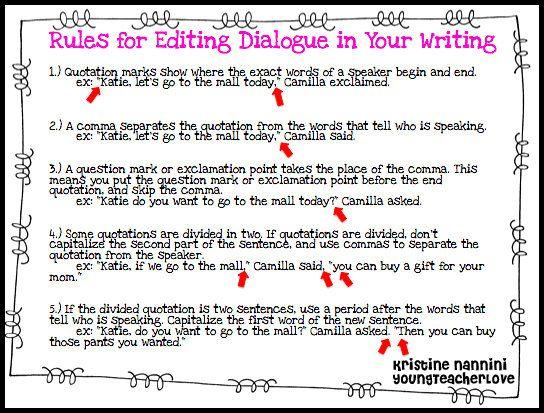 003 Rules for editing dialogue freebie!! Grammar Pinterest