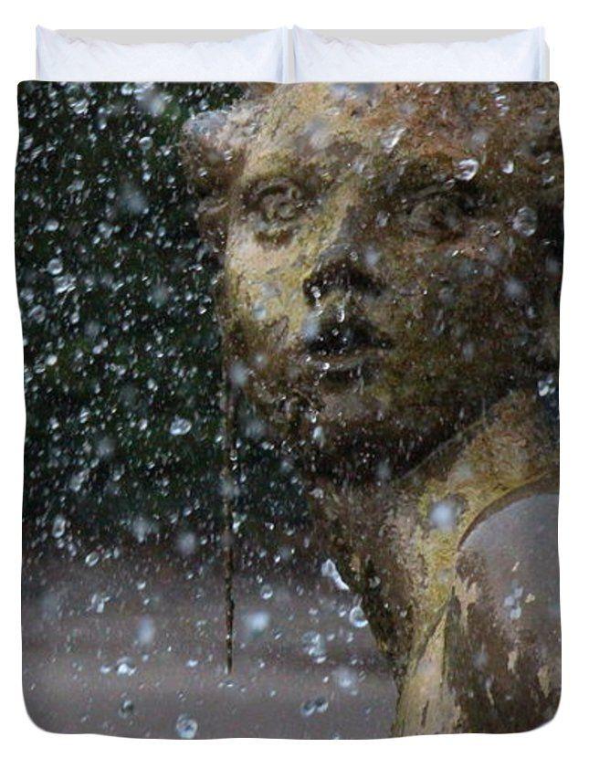 """Triton Fountain Mermaid Queen (88"""" x 88"""") Duvet Cover"""
