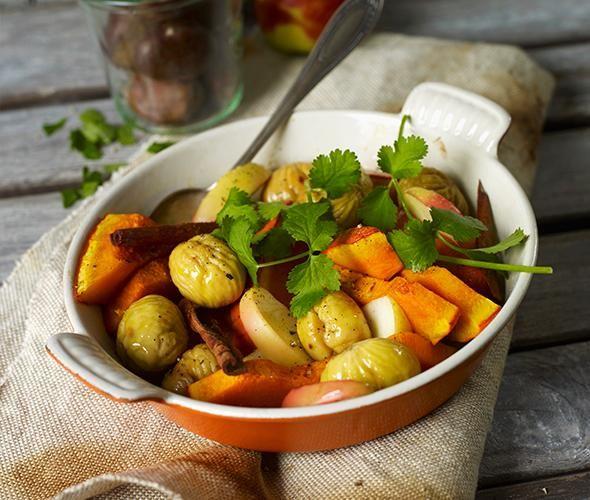 Rezept: Kürbis-Tajine mit Kastanien und Apfel
