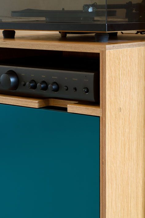Plywood record player cabinet
