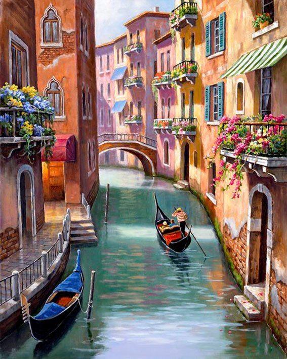 Pas Cher Gondoles Dans Venise Diamant Peinture Point De Croix Mosaique Carre Plein De Diamants Peinture Stra Peinture De Venise Paysage Venise Peinture Paysage