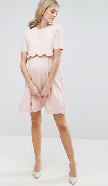 $48 | I love this maternity and nursing dress! | ASOS Maternity - Nursing ASOS Maternity NURSING Scallop Dress with Short Sleeve | maternity fashion | maternity outfit | maternity dress | maternity style | maternity wardrobe | spring maternity | summer maternity | nursing dress | nursing clothes | #ad