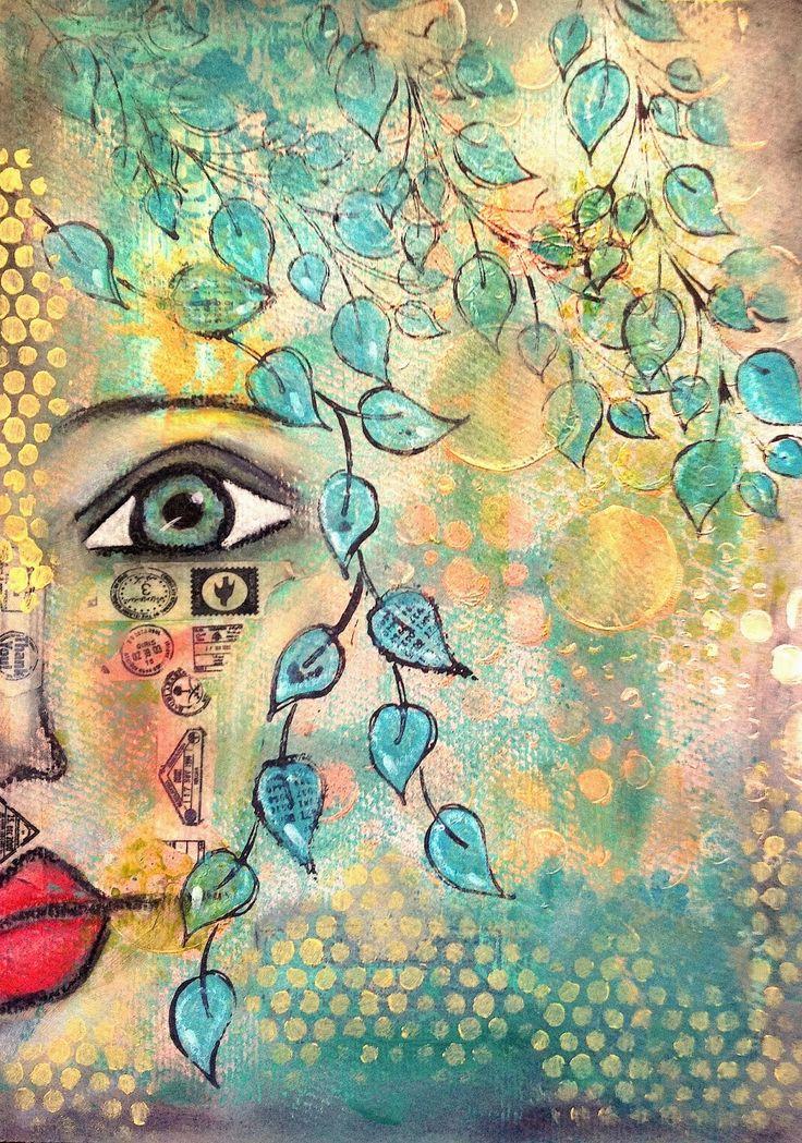 ART JOURNAL PAGE   BLUE   Nika In Wonderland Art Journaling and Mixed Media Tutorials