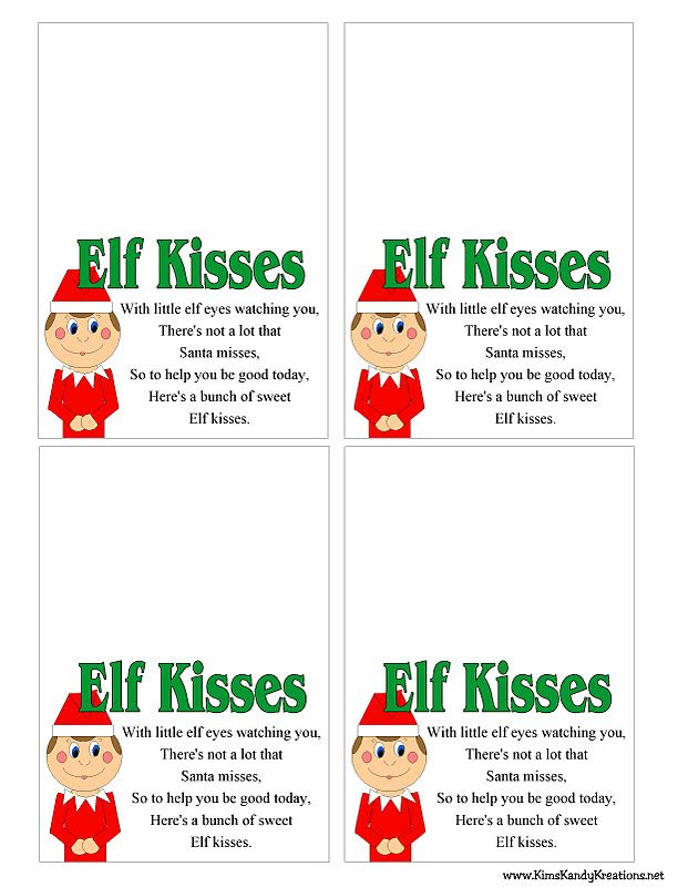 195 best santa letters images on pinterest xmas holiday ideas and bag topper elf kisses free printable bag sizes availablethe poem reads elf kisses with little elf eyes watching you theres not a lot that santa misses spiritdancerdesigns Choice Image