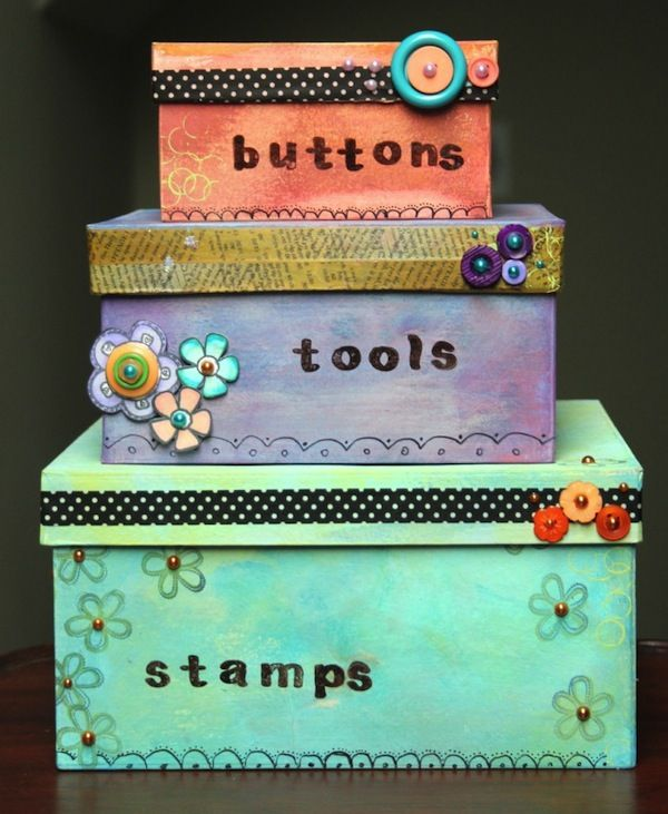 painted and decorated storage boxed - embellished with washi tape