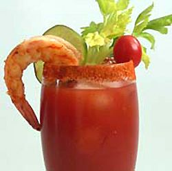 Bloody Mary with Shrimp -- Old Bay on the rim.  Add olives to the garnish too.