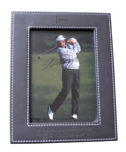 """COLIN MONTGOMERIE signed 8""""x6"""" Photograph and Brown Faux Leather Frame 