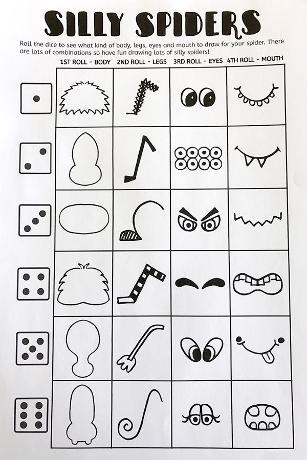 Printable Silly Spiders Drawing Game   Entertainment   Drawing games ...