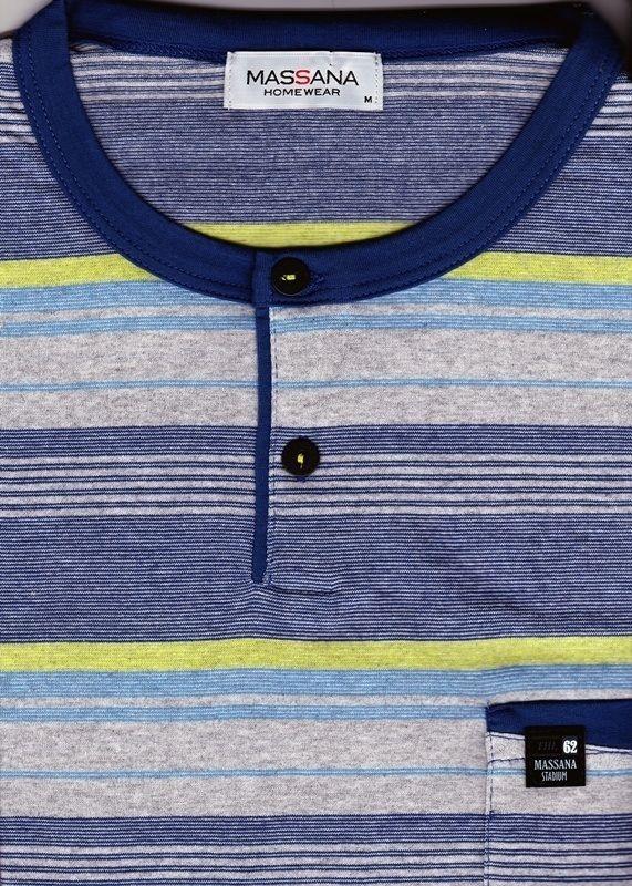 #Pijama #massana para hombre - Tapeta listado - Pijama de manga corta y cuello con tapeta en tono azul añil - ref: P151338 W02 - Tu ropa interior masculina en Varela íntimo. #hombre #ropainterior #regalos http://www.varelaintimo.com/marca/17/massana