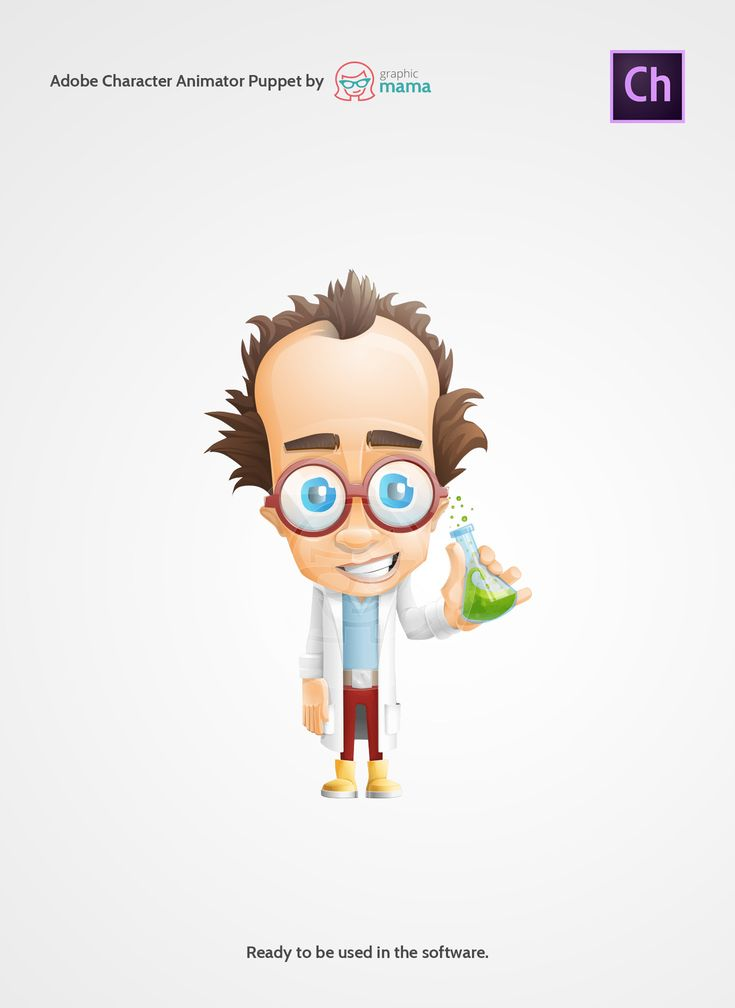 A mad scientist cartoon character prepared as an Adobe Character Animator template. Enjoy the great artwork with £GraphicMama!