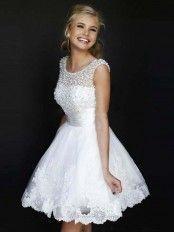 A-Linie/Princess-Stil Juwel-Ausschnitt Ärmellose Tülle Kurze Kleider – An Sorge