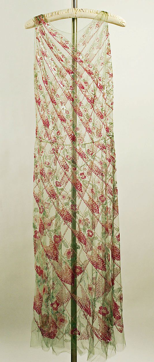 Dress, Evening.  Callot Soeurs (French, active 1895–1937).  Date: ca. 1923. Culture: French. Medium: silk, cotton, plastic. Dimensions: Length (from shoulder): 55 1/2 in. (141 cm).