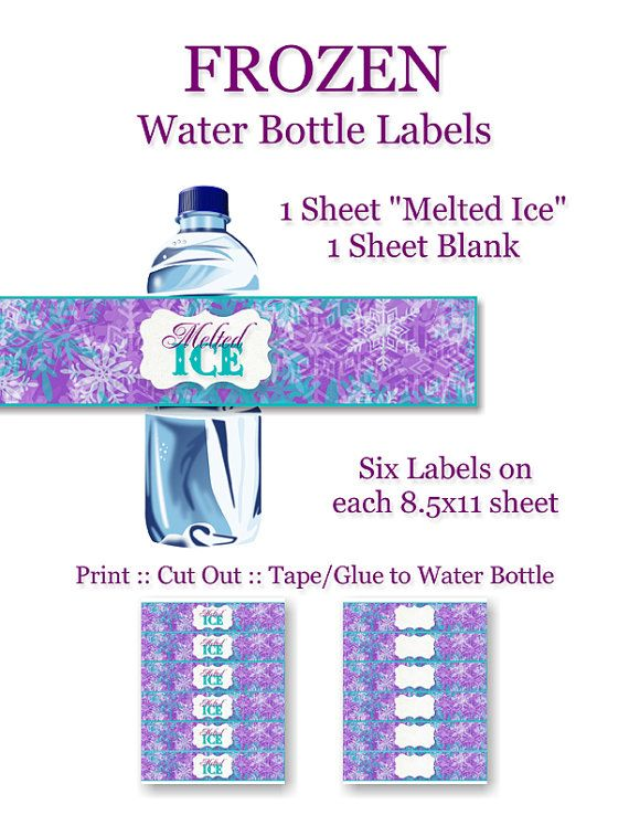 Frozen Birthday Party Water Bottle Labels - DIY, Printable, Instant Download - Decorations, Anna, Elsa, Olaf, Snow Queen
