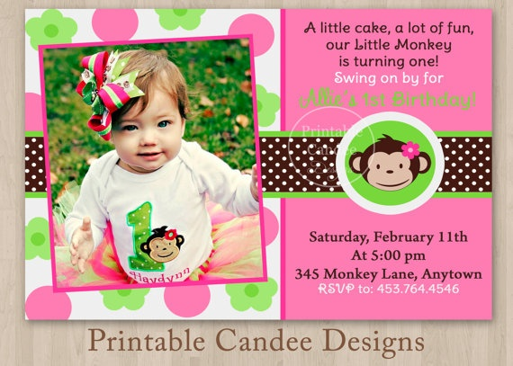 19 best addys 2nd birthday images on pinterest girl birthday mod monkey girl birthday invitation custom by printablecandee 1000 filmwisefo Choice Image