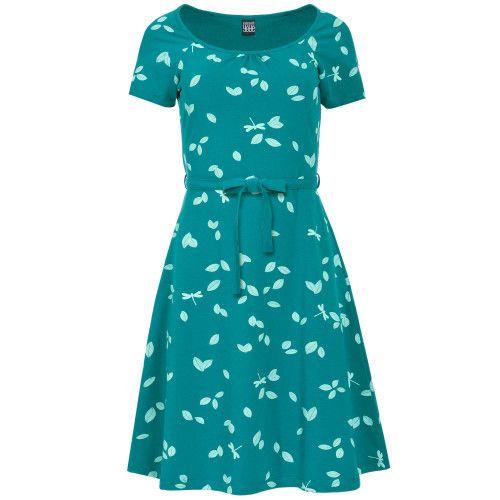 <p>Nieuw van Mademoiselle Yeye!Dezedroom jurk Loretta Green Dragonfly, gemaakt van een super comfortabel jersey groene katoen mix, met tere blaadjes en libellen.</p>