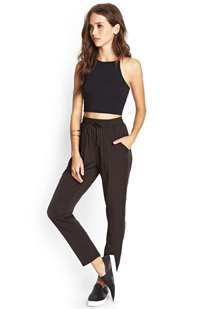 black, crop top, high waisted joggers | outfits and ...