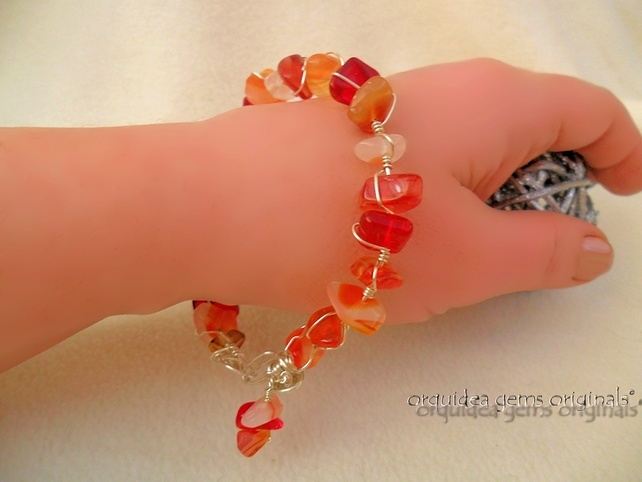 Anillo De Fuego: Wirewrapped Carnelian Bangle