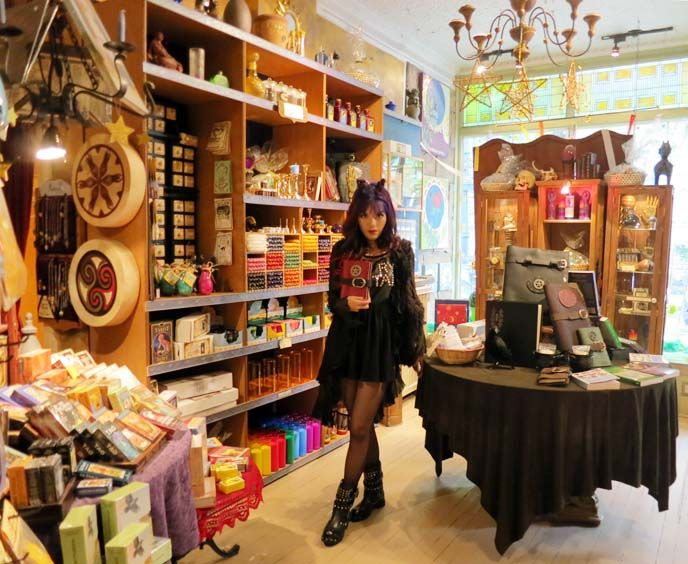 La Carmina wears Tokyo Goth clothing in Montreal, Quebec. See her alternative art & Canada travel guide at: http://www.lacarmina.com/blog/2013/06/montreal-hipster-travel-art-galleries-gay-village/    witchcraft store, new age shops