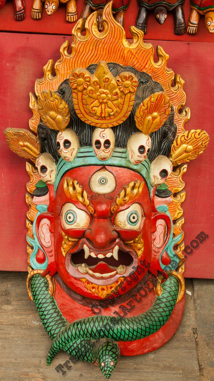 Mahakala has a crown of five skulls, which represent the transmutation of five negative afflictions of human nature into virtues. As he confronts negative forces and crushes them with his anger, his crown of skulls neutralizes what remains and works to transform it into something positive. Thus ignorance becomes wisdom, pride is humbled, attachment becomes the wisdom of discernment, jealously shifts to feeling satisfied with one's own accomplishments, and anger is released and soothed.