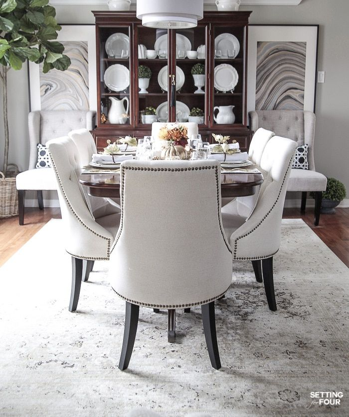 Elegant White Gold Thanksgiving Table Setting Traditional Dining Room Furniture Dining Room Updates Dining Room Design