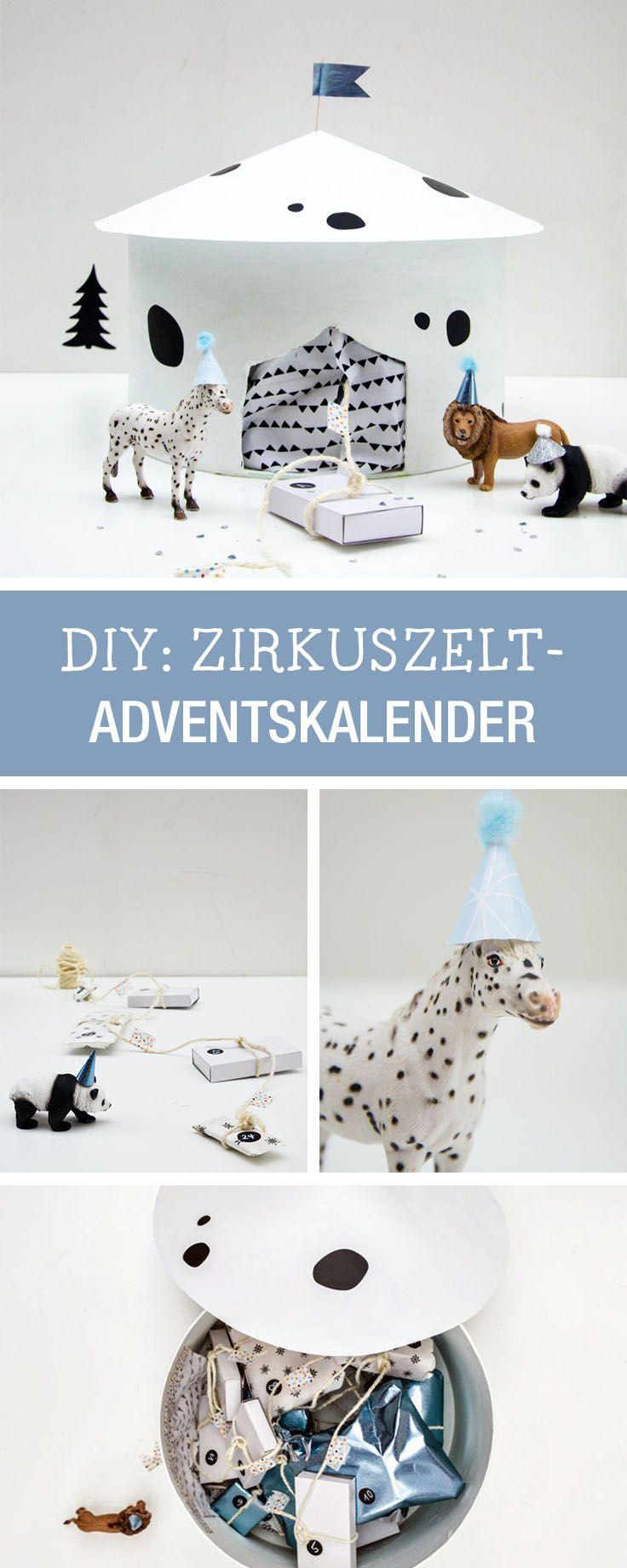 Adventskalender in Form eines Zirkuszelt für Kinder basteln / circus advents calendar for kids via DaWanda.com
