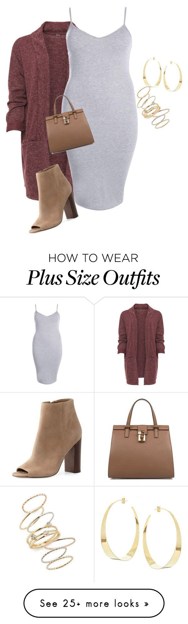 """Plus size casual chic fall/winter look"" by xtrak on Polyvore featuring WearAll, Boohoo, Sam Edelman, Dolce&Gabbana, BP. and Lana"
