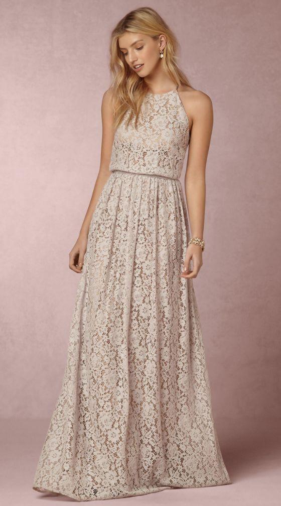 High Neck Lace Halter Bridesmaid Dress