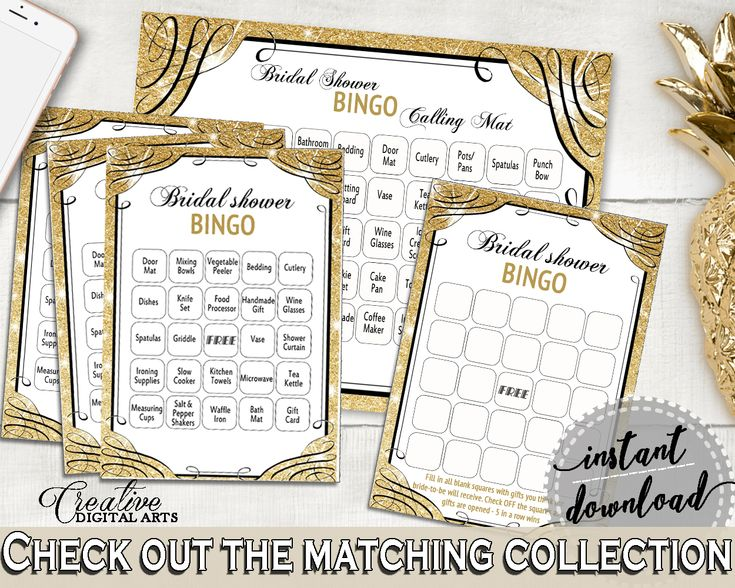Bingo 60 Cards in Glittering Gold Bridal Shower Gold And Yellow Theme, festivity, gold shine, shower activity, party theme, prints - JTD7P #bride #bidal #wedding #bridalshower #bridal-shower