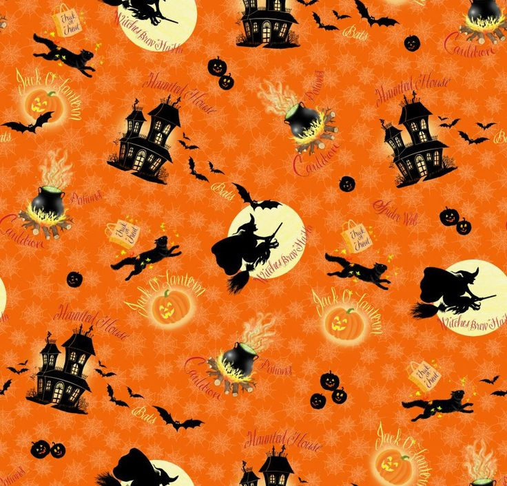 Witches Brew HaHa Tossed / Orange-23290 Quilting Treasures / 1/2 Yard and 1 Yard Cuts / Halloween Fabric / Cotton Fabric by SewWhatQuiltShop on Etsy