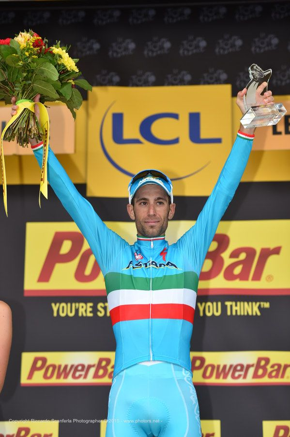 Vincenzo Nibali on podium - stage 19