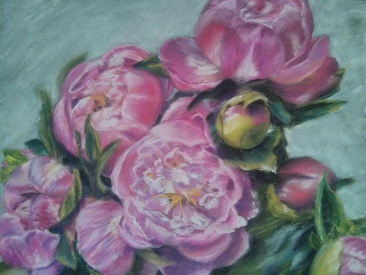 """""""Майские пионы"""" Пастель мягкая, пастельная бумага 24*30 см. Bouquet of peonies. Soft pastel, pastel paper   24 * 30"""