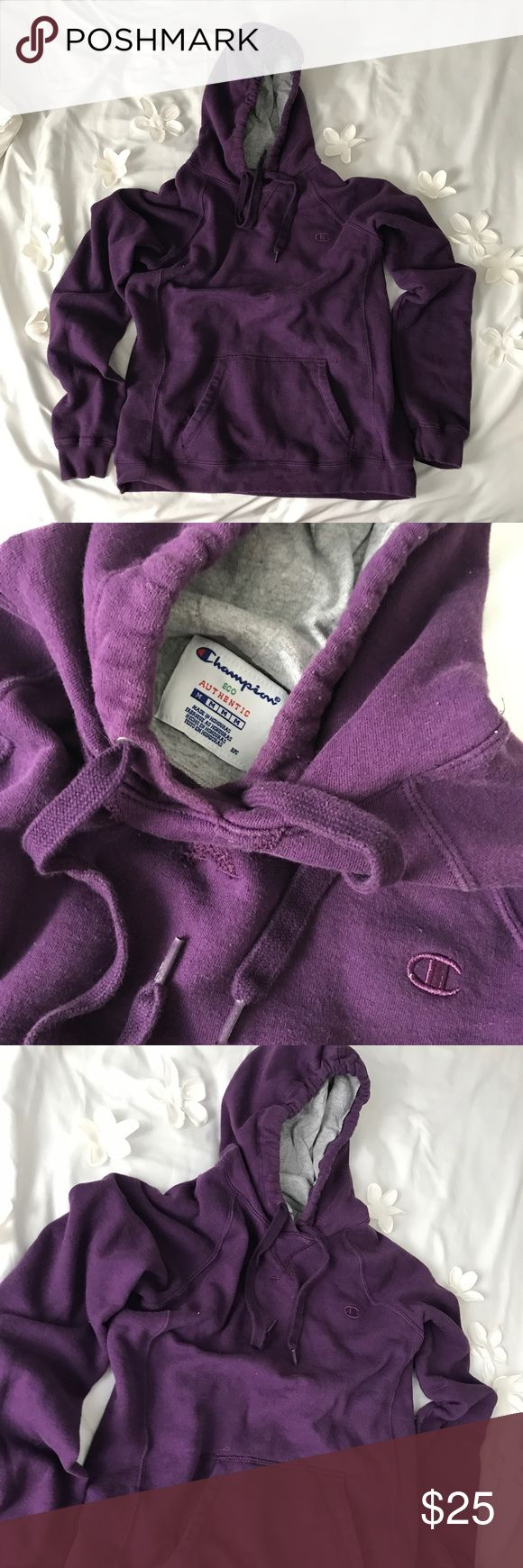 Purple champion hoodie!💜 Purple champion hoodie with gray in the inside 😈size medium for women 🌼 Perfect conditions 🌸 Champion Sweaters