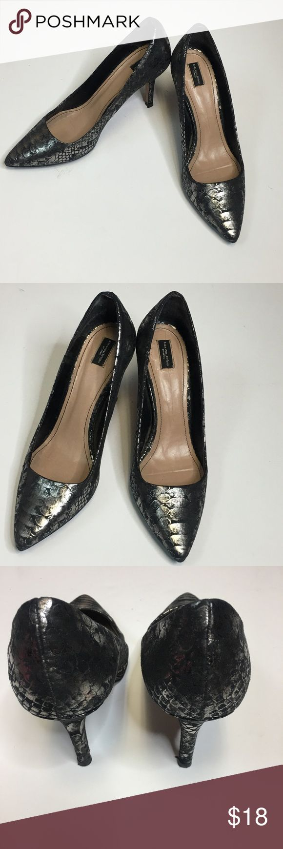 "Zara  Metallic Silver & Black Heels. GORGEOUS Metallic Silver/Grey and Black Classic Pumps                                                                     ZARA Shoes Collection  Bottom of shoe shoe sign of wear . man made material   ~ SIZE 39  Fit a size 8 USA, 6 UK) Please know your size in Zara sizing ~ Covered Heel 3.25"" ~ Retail $59 Zara Shoes Heels"