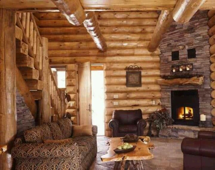 Log home with corner fireplace for the home pinterest for Log home fireplace pictures