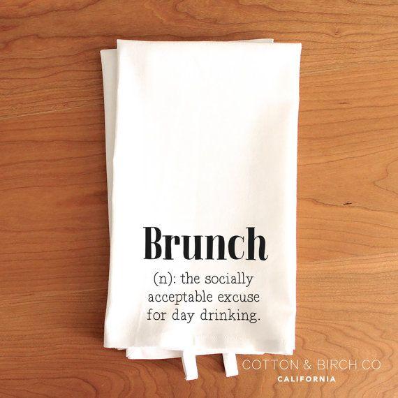 Brunch definition Tea Towel // Typography Tea by CottonAndBirchCo