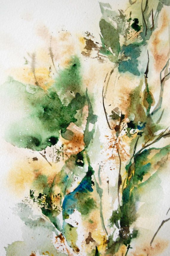 Abstract Nature Original Watercolor Painting, Green Earth Colours Leaves, Abstract Art on Etsy, $92.00