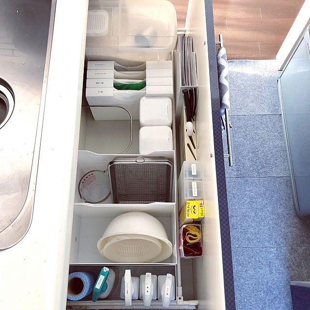 hiromin-626さんのKitchen 無印良品 収納 100均 北欧 ニトリ シンプル 北欧インテリア シンク下収納 キッチン収納 大掃除 持たない暮らし シンプルな暮らし マンション暮らしに関する部屋写真