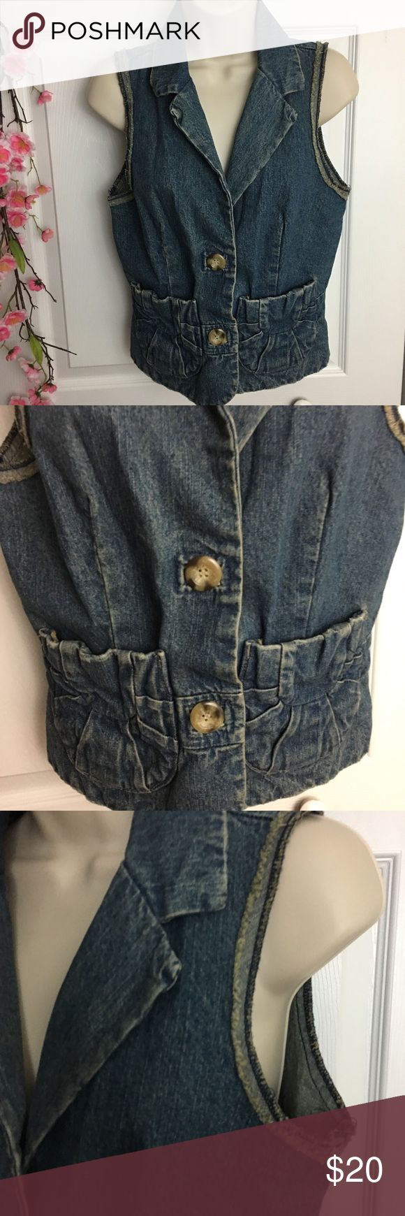 American Rag Denim Vest Cute vest! The hems have browning/yellowing but that is just the style. Great condition. No marks or stains. American Rag Jackets & Coats Vests