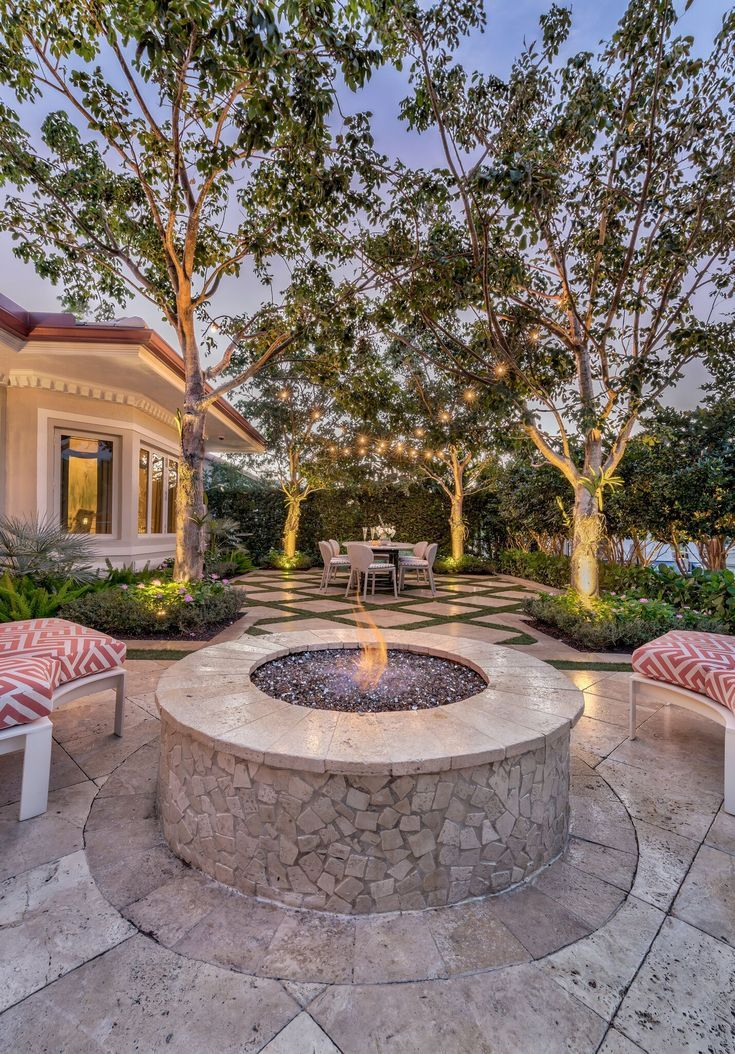 Backyard Exterior Design Landscape Architecture With Firepit Coral And White Outdoor Furn Outdoor Living Design White Outdoor Furniture Outdoor Living Trends