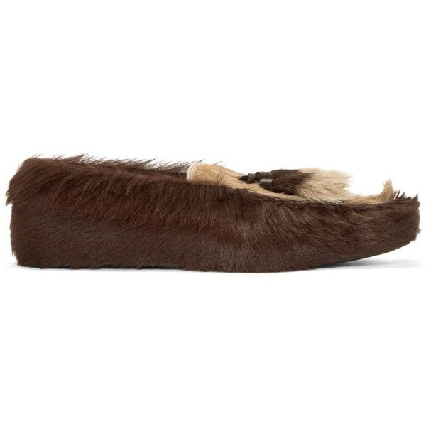 Prada SSENSE Exclusive Brown Fur Loafers (€985) ❤ liked on Polyvore featuring men's fashion, men's shoes, men's loafers, ssense, mens round toe shoes, mens brown loafer shoes, mens loafer shoes, mens brown shoes and mens tassel loafer shoes