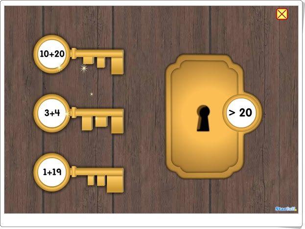 El viaje de las tres llaves mágicas de starfall.com (Suma y comparación de números)