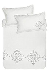 300 THREAD COUNT EMBROIDERED COTTON DUVET COVER SET