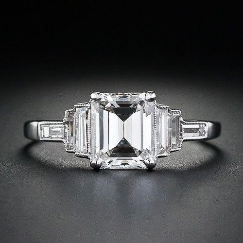 Lang Antiques Emerald Cut Art Deco Ring - Love the Milgrain! LOVE, LOVE, LOVE THIS!!
