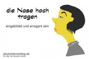 Nase hoch tragen Redewendungen Bilder deutschlernerblog