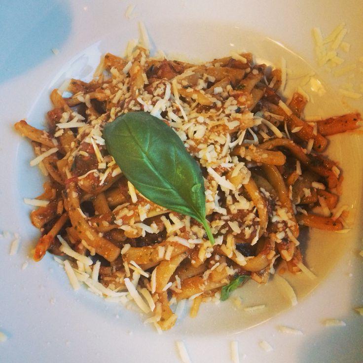 """#AVioletta - """"Scialatielli"""" , Artisan Neapolitan Pasta, Piennolo del Vesuvio, Grape Tomato Puree, Aubergines, Basil Pesto and Pecorino Bagnolese Cheese Flakes"""